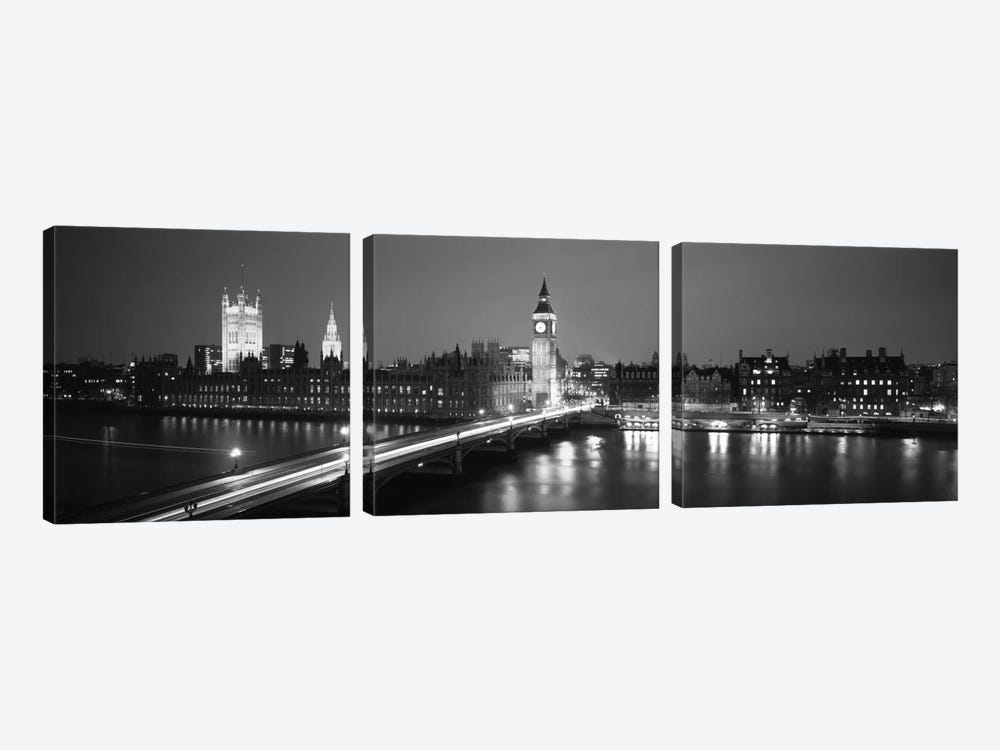 England, London, Parliament, Big Ben (black & white) by Panoramic Images 3-piece Canvas Print