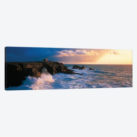 Ruins on the Cliff at Quiberon Wild Coast, Morbihan, Brittany, France Canvas Print #PIM12939} by Panoramic Images Art Print
