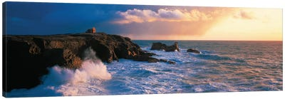 Ruins on the Cliff at Quiberon Wild Coast, Morbihan, Brittany, France Canvas Art Print