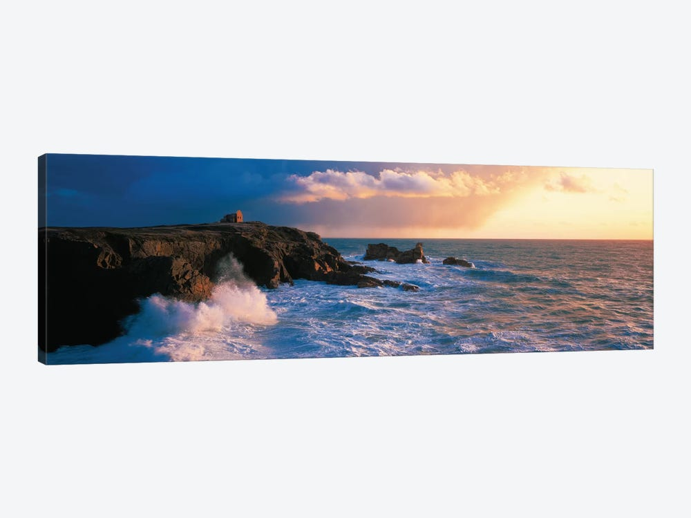 Ruins on the Cliff at Quiberon Wild Coast, Morbihan, Brittany, France by Panoramic Images 1-piece Canvas Art