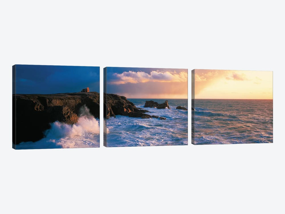 Ruins on the Cliff at Quiberon Wild Coast, Morbihan, Brittany, France by Panoramic Images 3-piece Canvas Artwork