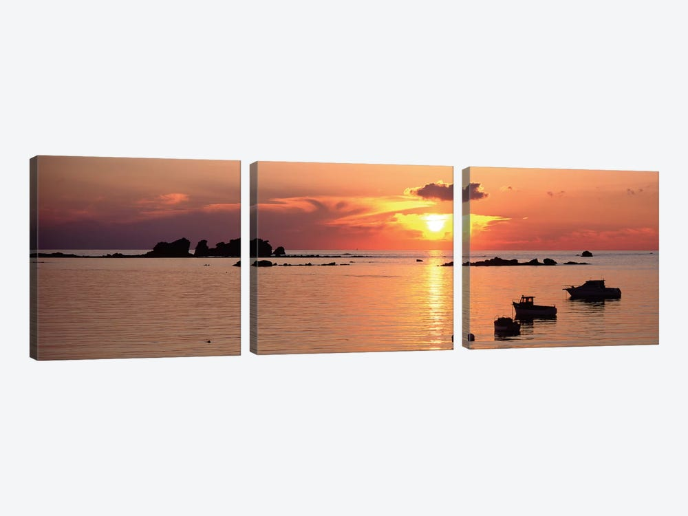 Sunset Over Archipelago Lilia,  Ile Vierge, Finistere, Brittany, France by Panoramic Images 3-piece Canvas Artwork