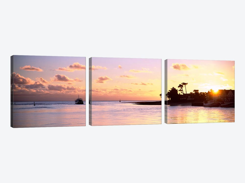 Sunrise At Loctudy Harbour, Finistere, Brittany, France by Panoramic Images 3-piece Canvas Artwork