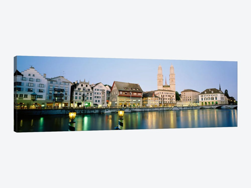 Riverfront Architecture At Twilight Featuring Grossmunster, Limmat River, Zurich, Switzerland by Panoramic Images 1-piece Canvas Wall Art
