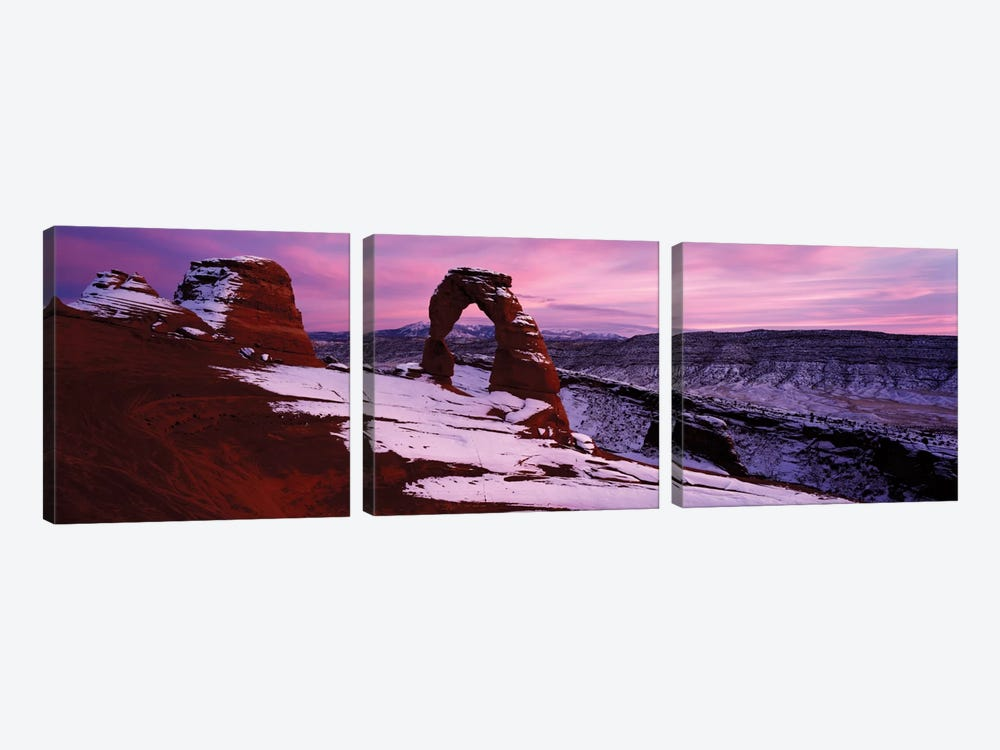 Delicate Arch In Winter, Arches National Park, Utah, USA by Panoramic Images 3-piece Canvas Art