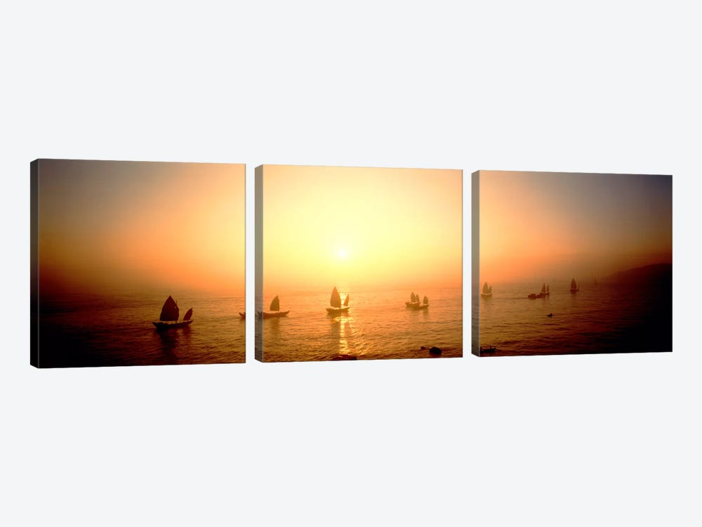Boats Shantou China by Panoramic Images 3-piece Canvas Art Print