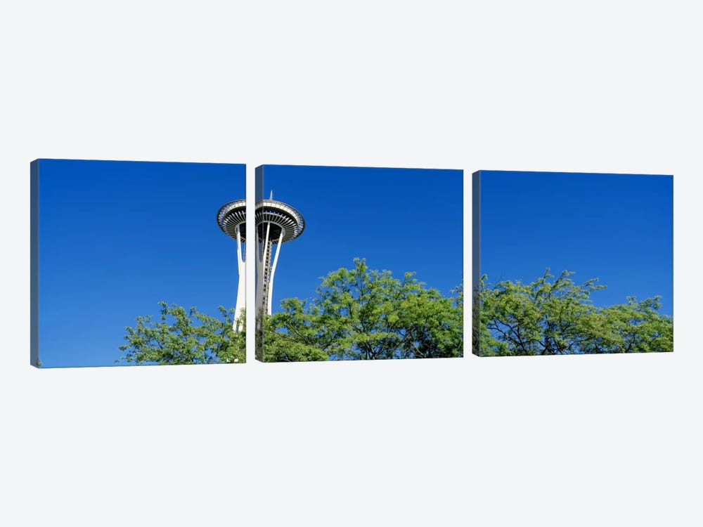 Low angle view of a tower, Space Needle, Seattle Center, Seattle, King County, Washington State, USA by Panoramic Images 3-piece Canvas Art Print