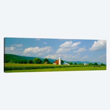 Cultivated field in front of a barn, Kishacoquillas Valley, Pennsylvania, USA Canvas Print #PIM1320} by Panoramic Images Canvas Art