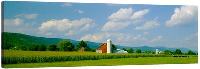 Cultivated field in front of a barn, Kishacoquillas Valley, Pennsylvania, USA Canvas Print #PIM1320