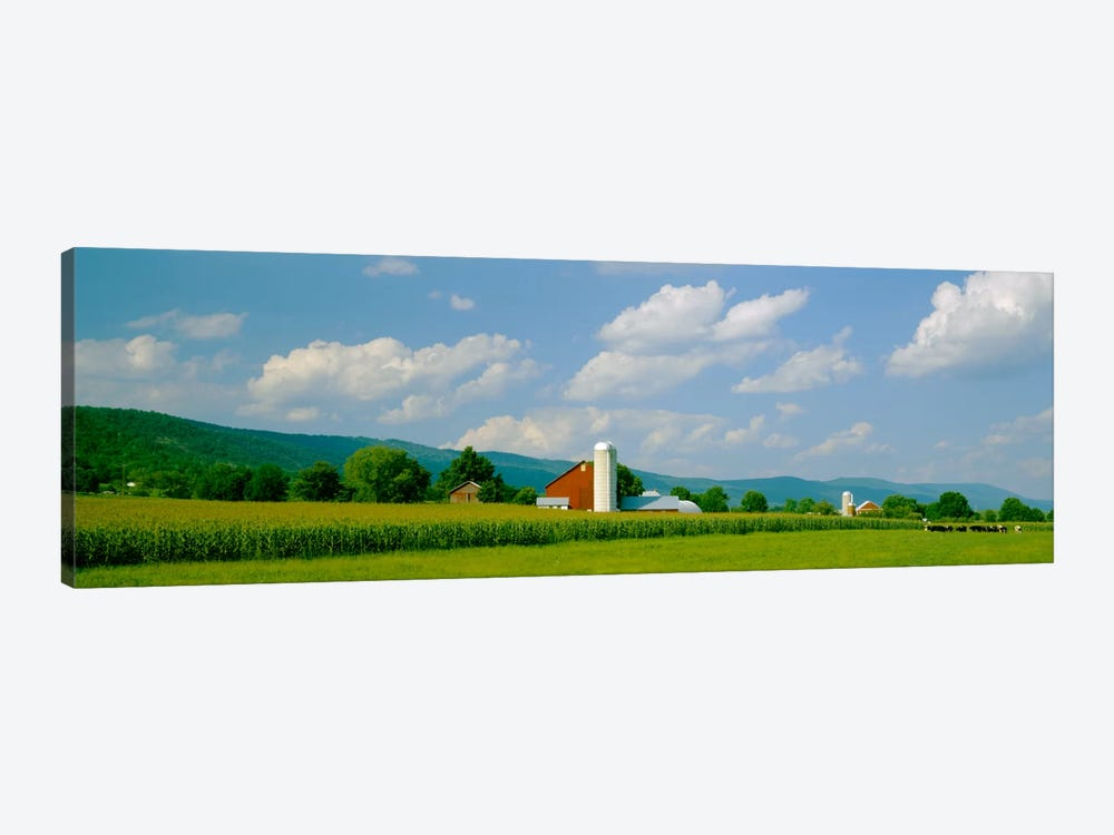 Cultivated field in front of a barn, Kishacoquillas Valley, Pennsylvania, USA by Panoramic Images 1-piece Canvas Art