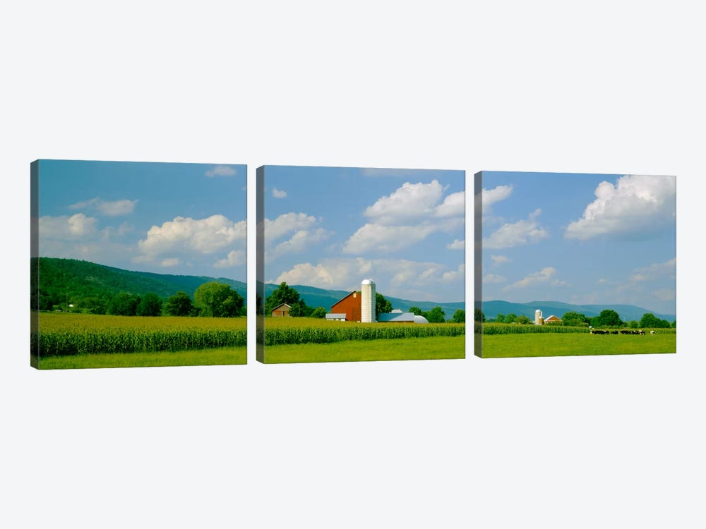 Cultivated field in front of a barn, Kishacoquillas Valley, Pennsylvania, USA by Panoramic Images 3-piece Canvas Wall Art