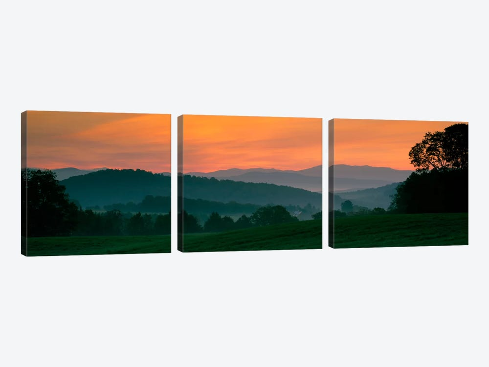 Foggy Hillside Sunrise, Caledonia County, Vermont, USA by Panoramic Images 3-piece Canvas Artwork