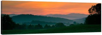 Foggy Hillside Sunrise, Caledonia County, Vermont, USA Canvas Art Print