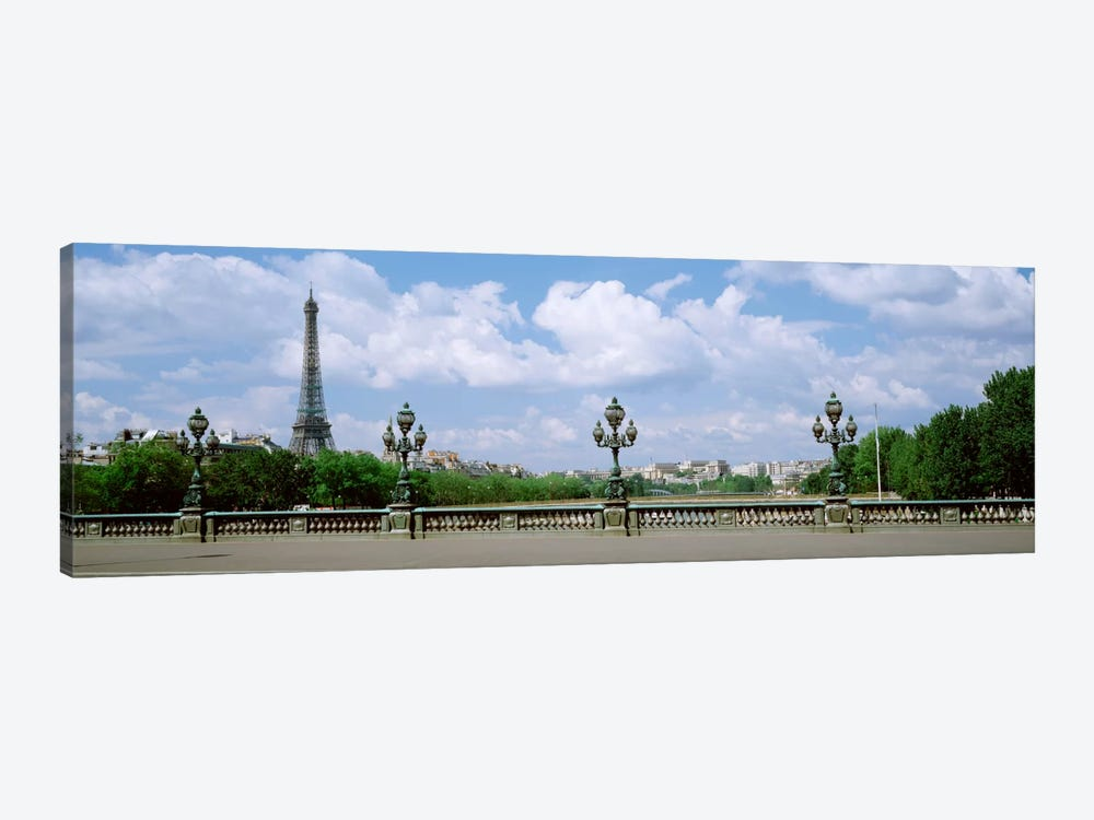 Cloudy View Of The Eiffel Tower As Seen From Pont Alexandre III, Paris, Ile-de-France, France by Panoramic Images 1-piece Canvas Art Print
