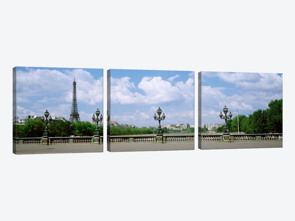 Cloudy View Of The Eiffel Tower As Seen From Pont Alexandre III, Paris, Ile-de-France, France by Panoramic Images 3-piece Canvas Art Print