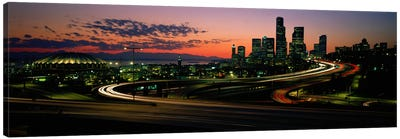 Sunset Puget Sound & Seattle skyline WA USA Canvas Art Print