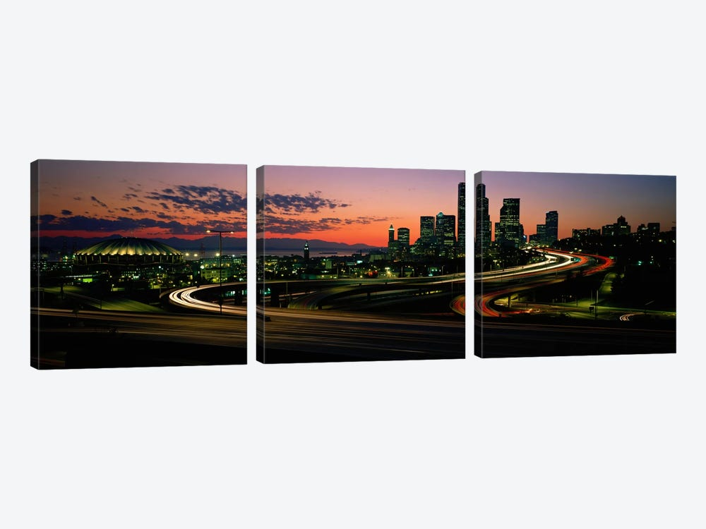 Sunset Puget Sound & Seattle skyline WA USA by Panoramic Images 3-piece Art Print