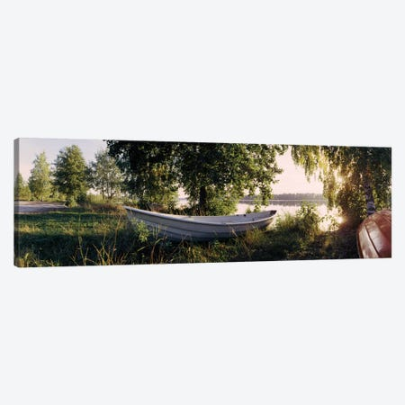 Boat On The Bank II, Vuoksi River, Imatra, Finland Canvas Print #PIM13323} by Panoramic Images Canvas Print