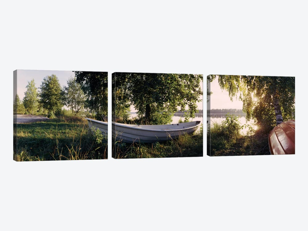 Boat On The Bank II, Vuoksi River, Imatra, Finland by Panoramic Images 3-piece Canvas Art Print