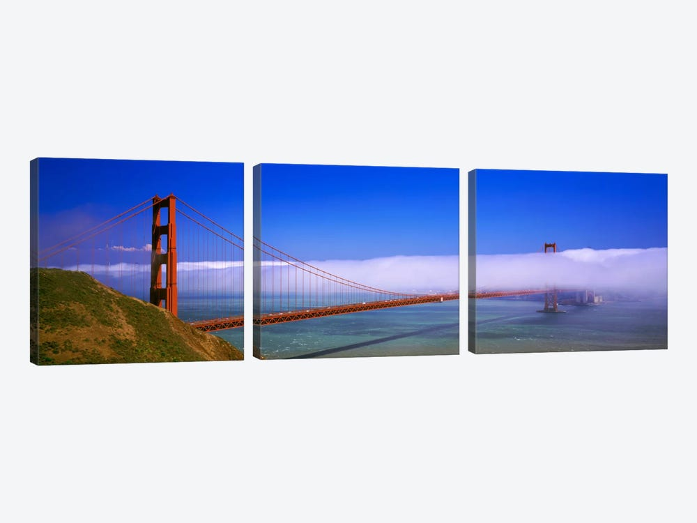 Fog Cloud Over The Golden Gate Bridge, California, USA by Panoramic Images 3-piece Canvas Art