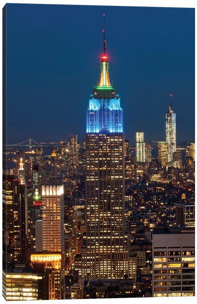 Empire State Building At Night III, Manhattan, New York City, New York, USA Canvas Print #PIM13340
