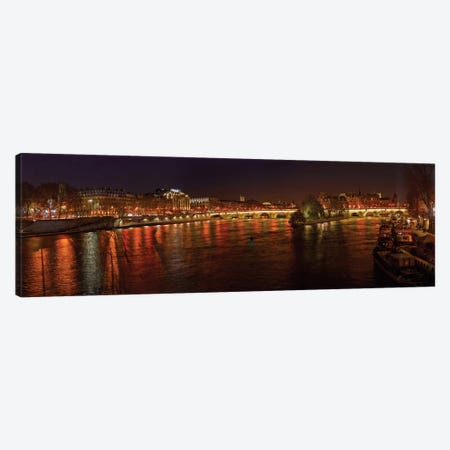 Pont Neuf and Ile de la Cite As Seen From Pont des Arts I, River Seine, Paris, Ile-de-France, France Canvas Print #PIM13350} by Panoramic Images Canvas Artwork