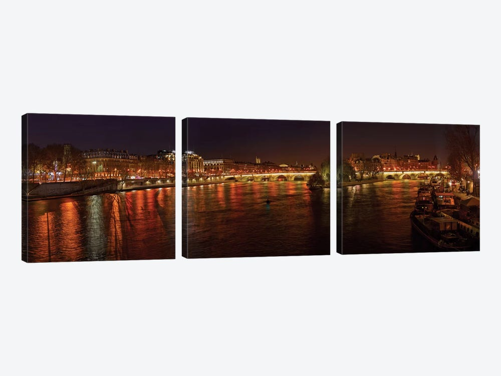 Pont Neuf and Ile de la Cite As Seen From Pont des Arts I, River Seine, Paris, Ile-de-France, France 3-piece Art Print