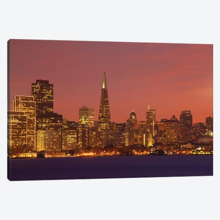 Downtown Skyline At Night I, San Francisco, California, USA Canvas Print #PIM13393} by Panoramic Images Canvas Artwork