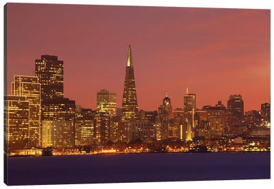 Downtown Skyline At Night I, San Francisco, California, USA Canvas Art Print