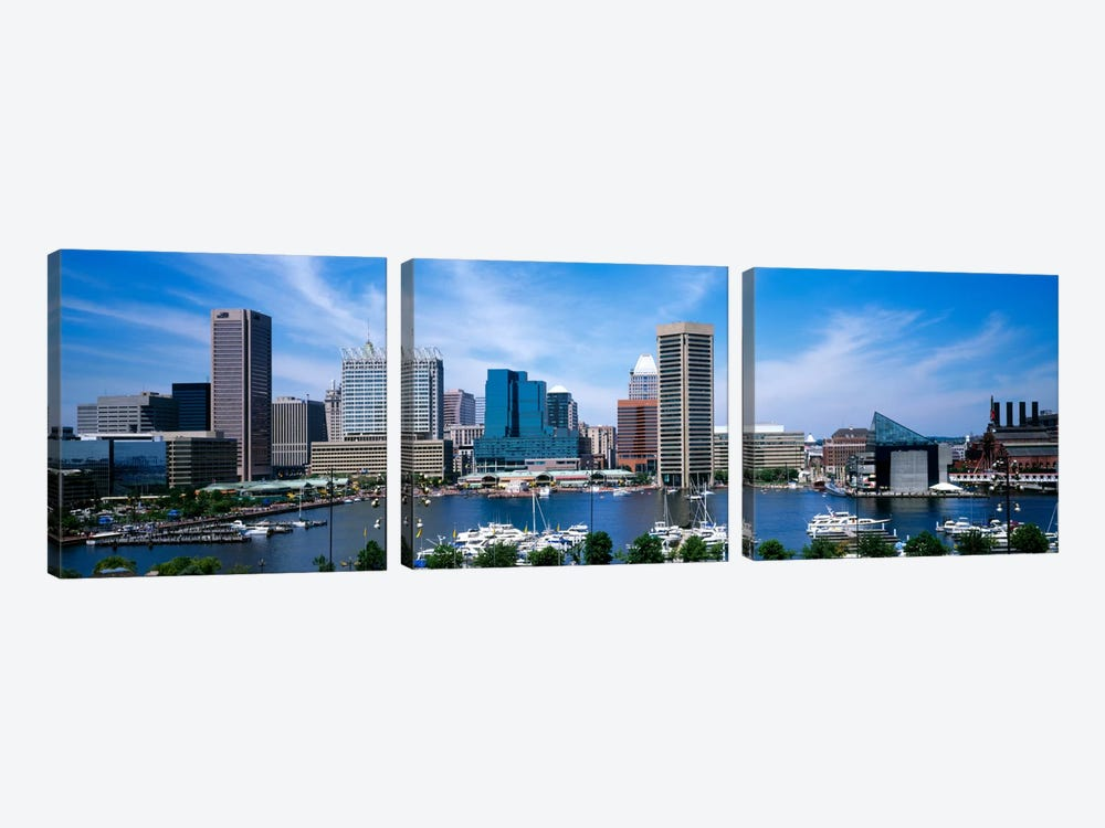 Inner Harbor, Baltimore, Maryland, USA by Panoramic Images 3-piece Canvas Art Print