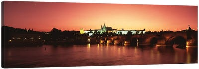 Nighttime View Of Mala Strana & Hradcany Districts With The Charles Bridge In The Foreground, Prague, Czech Republic Canvas Art Print