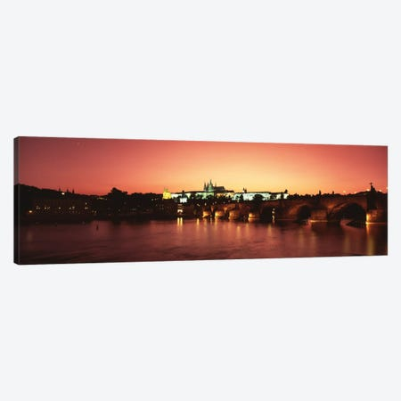 Nighttime View Of Mala Strana & Hradcany Districts With The Charles Bridge In The Foreground, Prague, Czech Republic Canvas Print #PIM135} by Panoramic Images Art Print