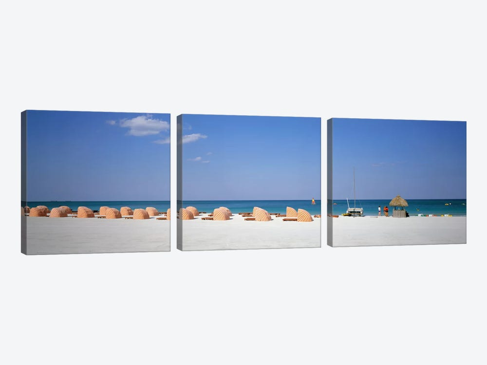 Beach Scene, Miami, Florida, USA 3-piece Canvas Wall Art