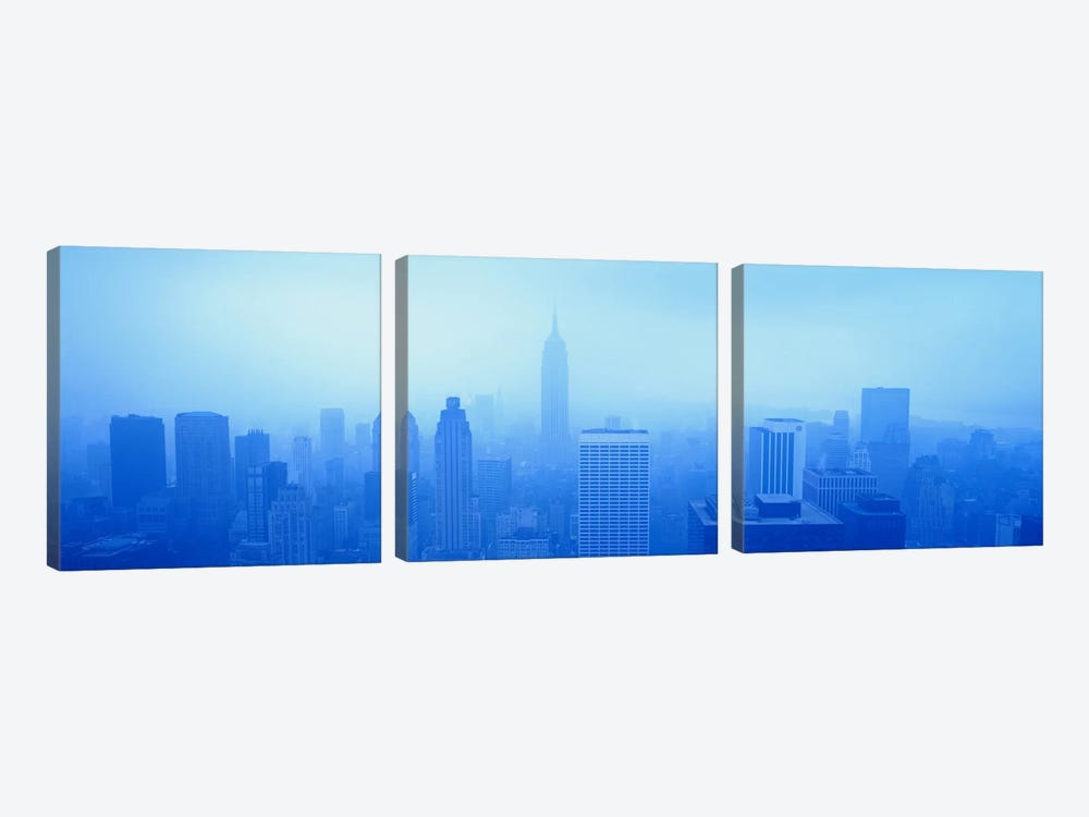 Downtown Skyline On A Hazy Day, New York City New York, USA 3-piece Art Print