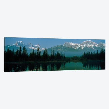 Three Sisters and Mount Lawrence Grassi, Canadian Rockies, Alberta, Canada 3-Piece Canvas #PIM13950} by Panoramic Images Canvas Artwork