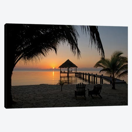 Pier With Palapa, Maya Beach, Stann Creek District, Belize Canvas Print #PIM13952} by Panoramic Images Canvas Art