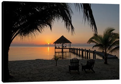 Pier With Palapa, Maya Beach, Stann Creek District, Belize Canvas Art Print