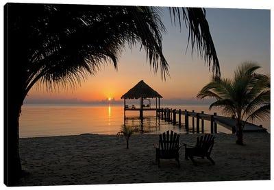 Pier With Palapa, Maya Beach, Stann Creek District, Belize Canvas Print #PIM13952