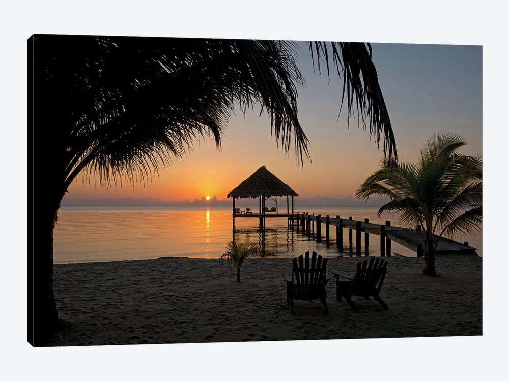 Pier With Palapa, Maya Beach, Stann Creek District, Belize by Panoramic Images 1-piece Art Print
