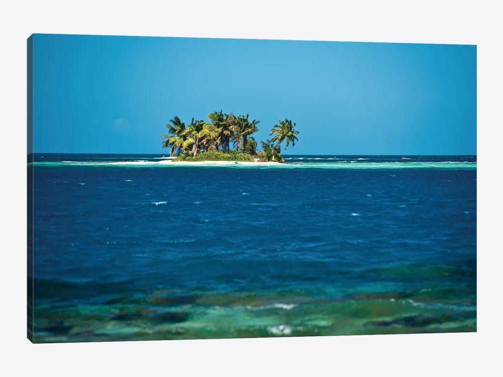 View Of Silk Caye Island With Palm Trees, Caribbean Sea, Stann Creek District, Belize 1-piece Canvas Print