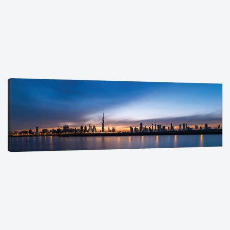 Downtown Skyline At Sunset, Dubai, United Arab Emirates Canvas Print #PIM13957} by Panoramic Images Art Print
