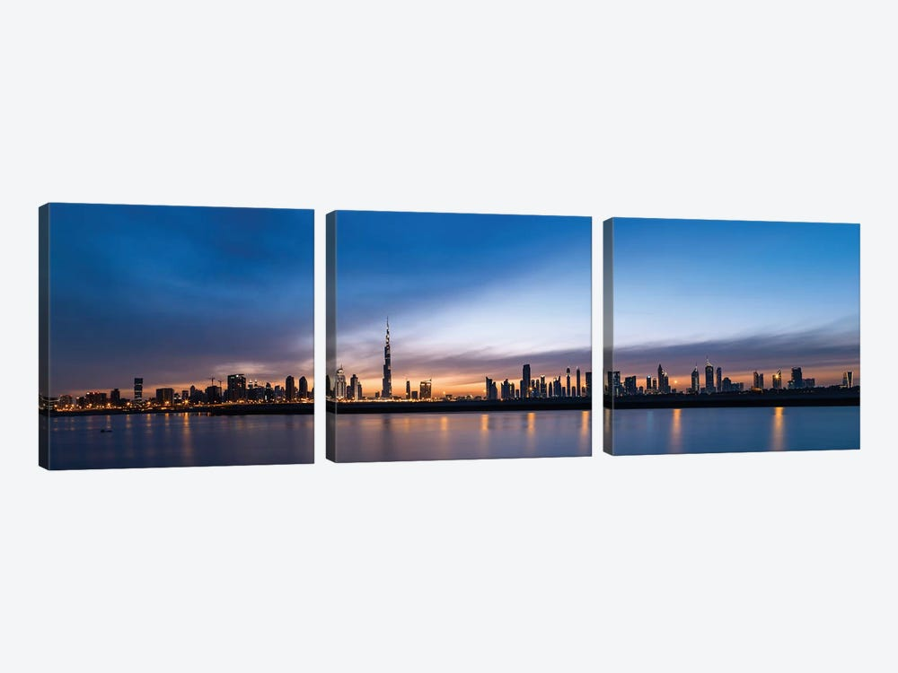 Downtown Skyline At Sunset, Dubai, United Arab Emirates by Panoramic Images 3-piece Canvas Artwork