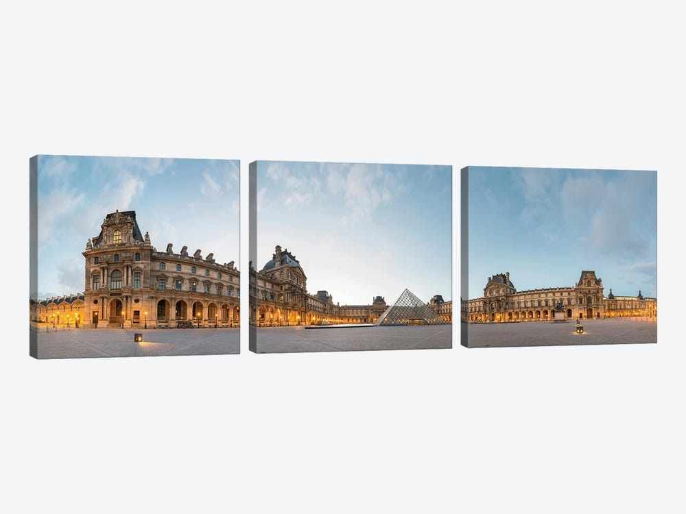 The Louvre Palace and Pyramid, Paris, Ile-de-France, France by Panoramic Images 3-piece Canvas Artwork