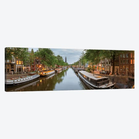 Prinsengracht Canal, Amsterdam, North Holland Province, Netherlands Canvas Print #PIM13964} by Panoramic Images Canvas Wall Art