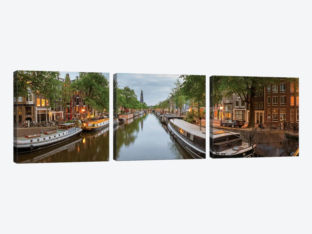Prinsengracht Canal, Amsterdam, North Holland Province, Netherlands by Panoramic Images 3-piece Canvas Wall Art