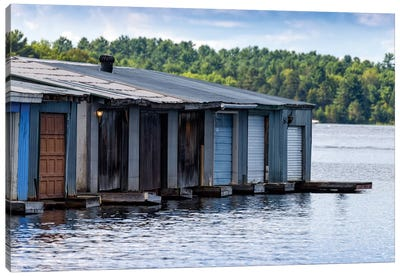 Row Of Old Boathouses, Lake Muskoka, Ontario, Canada Canvas Print #PIM13969