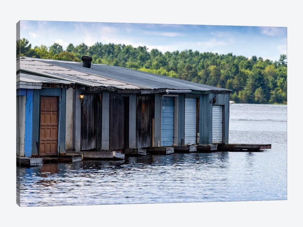 Row Of Old Boathouses, Lake Muskoka, Ontario, Canada by Panoramic Images 1-piece Art Print
