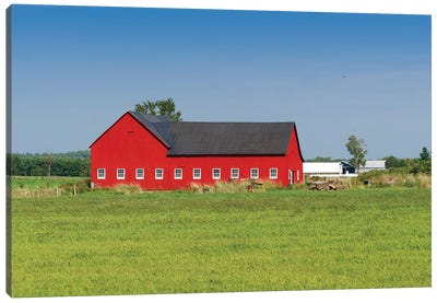 Red Barn, Grenville County, Ontario, Canada Canvas Print #PIM13970
