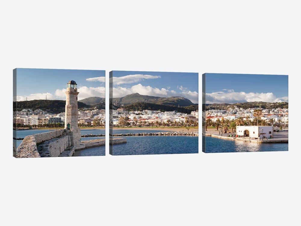 Rethymno Lighthouse, Rethymno, Crete, Greece by Panoramic Images 3-piece Canvas Print