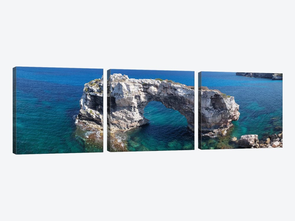 Es Pontas Natural Arch, Santanyi, Majorca, Balearic Islands, Spain by Panoramic Images 3-piece Canvas Art Print